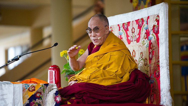 His Holiness the Dalai Lama making the first official remark on his retirement from political responsibilities during a public teaching at the Main Tibetan Temple in Dharamsala, HP, India on March 19, 2011. (Photo/Tenzin Choejor/OHHDL)