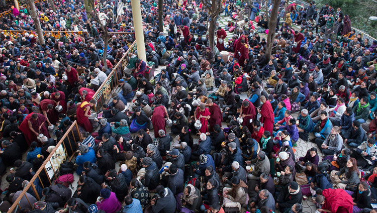 Thousands of Tibetans and visitors gathered to attend His Holiness the Dalai Lama's Jataka Tales (Stories of the Buddha's Previous Lives) teaching in the courtyard of the Main Tibetan Temple in Dharamsala, HP, India on March 5, 2015. Photo/Tenzin Choejor/OHHDL