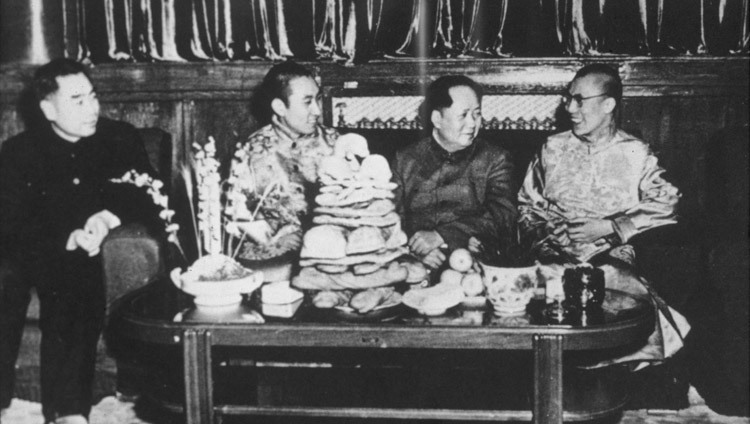 Zhou En-Lai, Panchen Lama, Mao Tse-Tung and His Holiness the Dalai Lama in Beijing, China in 1956. (Photo courtesy Tibet Images)